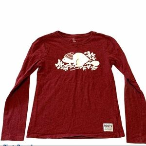 Roots kids size Medium (7-8 years) shirt red